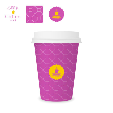 polystyrene: Closed paper cup for coffee with texture. Sample seamless pattern coffee badge. Mock up