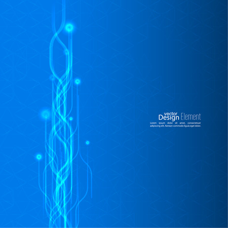 Abstract background with glowing flux intersecting beams. Information flow in the technical space. Tech, physical phenomenon Vector