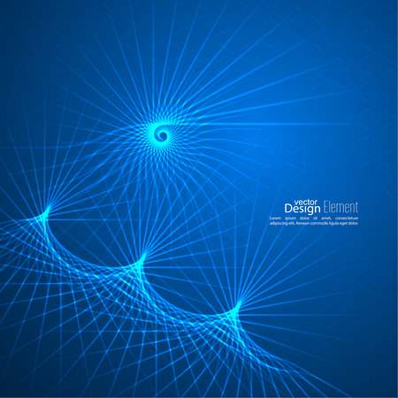 fibonacci: Abstract background with glowing spiral. Information flow in the technical space. Tech, physical phenomenon Illustration