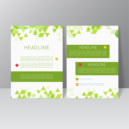 catalog design: Vector brochure template design with triangles, icons and different elements. Flyer or booklet Layout. Spring, green products, eco and bio clearance
