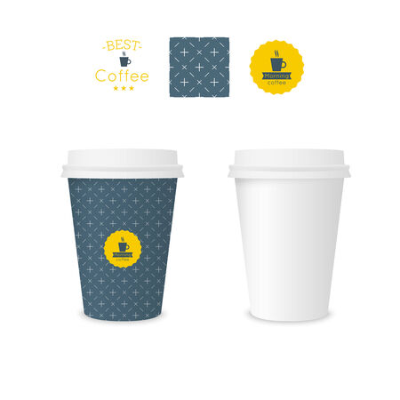 cup  coffee: Closed paper cup for coffee with texture. Sample seamless pattern coffee badge. Mock up