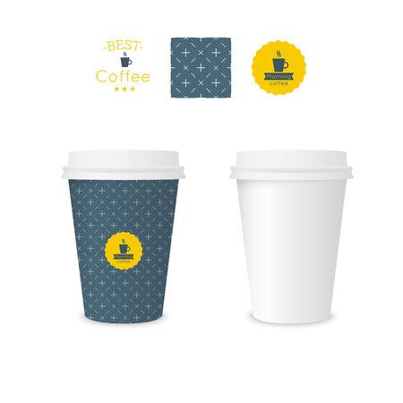 filiżanka kawy: Zamknięty papierowy kubek na kawę z teksturą. Przykładowy wzór kawy bez szwu znaczek. Makiety Ilustracja