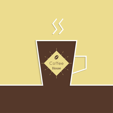 coffeehouse: Abstract background with a cup of coffee. Coffee house. for menu, restaurant, cafe, bar, coffeehouse.  Outline Illustration
