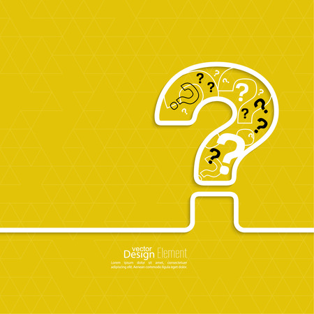 question concept: Question mark icon. Help symbol. FAQ sign on a yellow background. vector