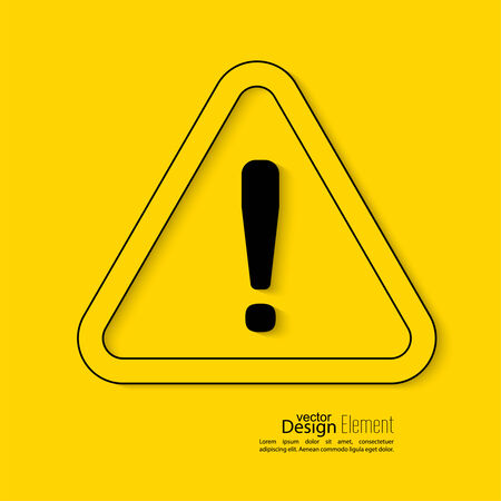 exclaim: Exclamation mark icon. Attention sign icon. Hazard warning symbol  in yellow background. vector