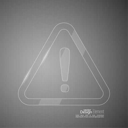 exclaim: Exclamation mark icon. Attention sign icon. Hazard warning transparent glossy symbol  in gray background. vector