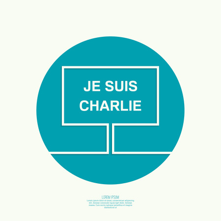 massacre: Symbol of solidarity in Paris. Je suis charlie. I am Charlie. Placard, banner, vector icons Illustration