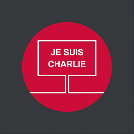 Symbol of solidarity in Paris. Je suis charlie. I am Charlie. Placard, banner, vector icons 向量圖像