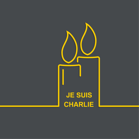 massacre: Symbol of solidarity in Paris. Je suis charlie. I am Charlie. Last minute funeral candles. vector icons