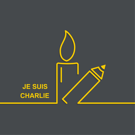 massacre: Symbol of solidarity in Paris. Je suis charlie. I am Charlie. Burning candles and pencil. vector icons Illustration