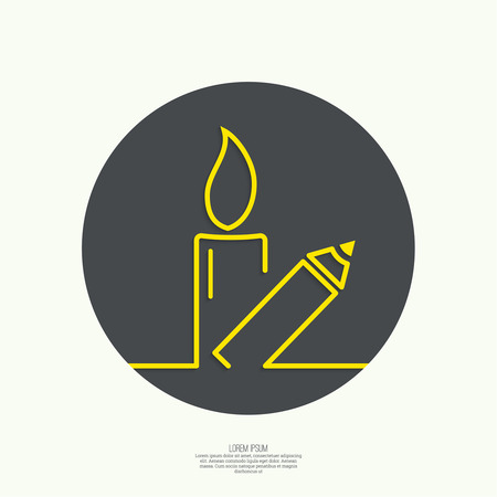 satirical: Symbol of solidarity in Paris. Je suis charlie. I am Charlie. Burning candles and pencil. vector icons Illustration