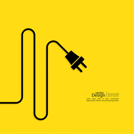 Abstract background with wire and plug. Concept connection, disconnection, electricity. Flat design. Yellow, black Illustration