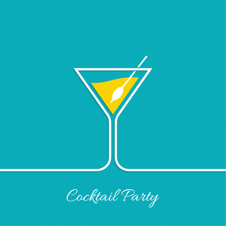 Cocktail party. Martini glass. Invitation club night. restaurant menu Illusztráció