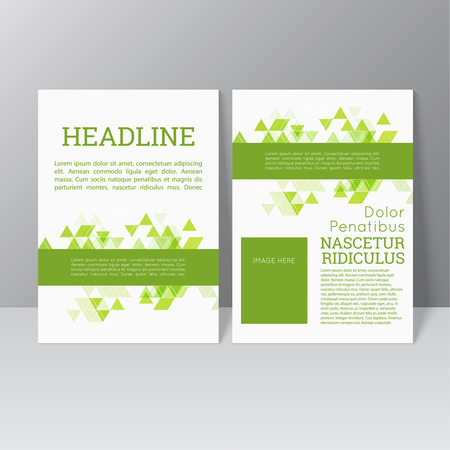 poster template: Vector brochure template design with triangles, icons and different elements. Flyer or booklet Layout. Spring, green products, eco and bio clearance