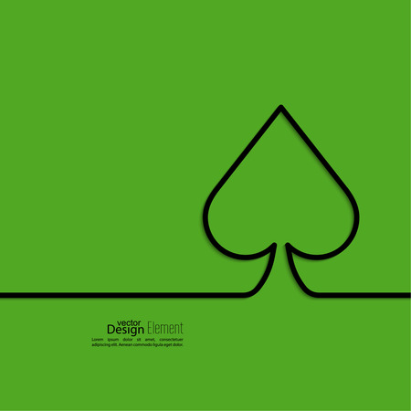 solitaire: spades card on a green background. Vector.