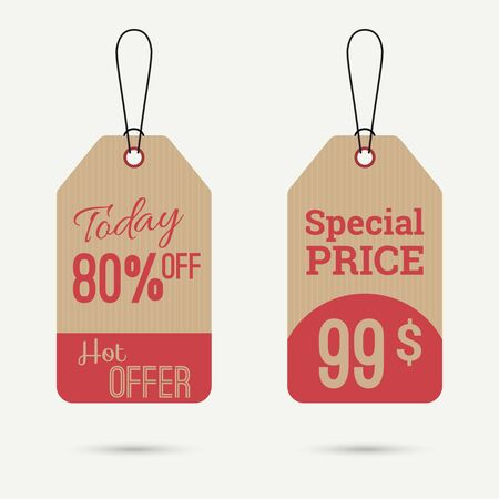 pricetag: Set price tag with ribbons and labels.today 80 off, special price, hot offer banner