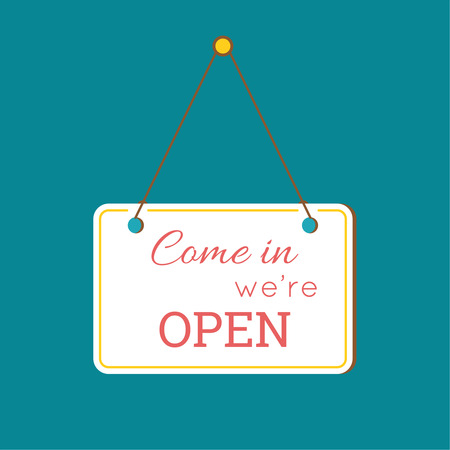 come in: Come in We are Open Sign. sign with information welcoming shop visitors. flat design