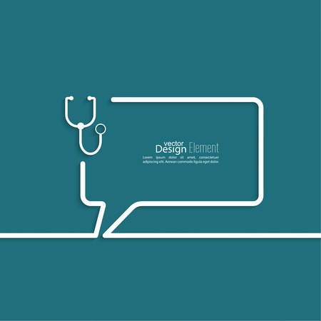 add symbol: Abstract background with Speech Bubbles symbol. Outline. stethoscope, diagnosis and treatment Illustration