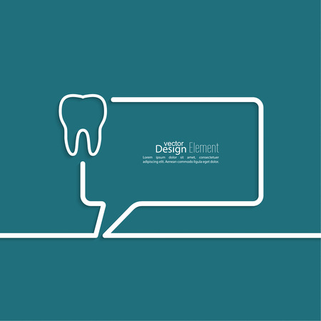 dent: Abstract background with Speech Bubbles symbol. Outline. Tooth roots, dental record Illustration