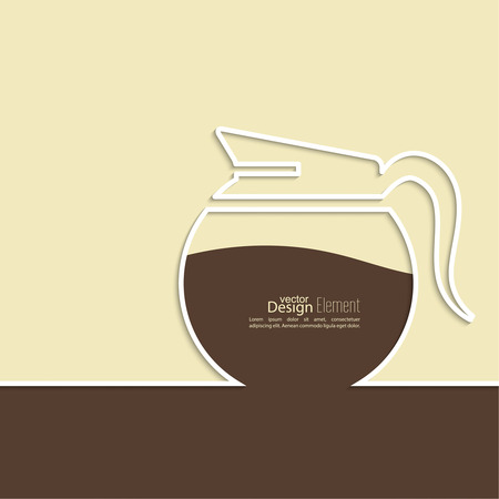 coffeehouse: Abstract background with a coffee pot. Coffee house. for menu, restaurant, cafe, bar, coffeehouse.  Outline