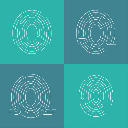 fingermark: Set of icons fingerprint. Identification, and input protection by means of a scanner Illustration
