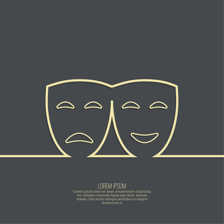 Comic and tragic theatrical mask. Drama, tragedy, humor, comedy, performance genres. Outline
