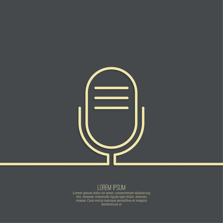 entertaining presentation: Abstract background with an old microphone. Notification, advertising, writing, and important messages. Radio broadcast. On air. Outline