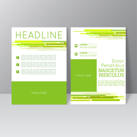 advertising template: Vector brochure template design with dynamic lines and flow, icons and different elements. Flyer or booklet Layout.