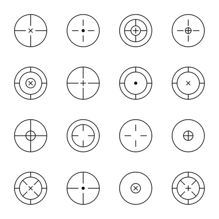 sharpshooter: set of different types of crosshair. icon. Game flies for snipers