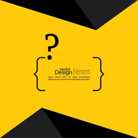 questionail: Icono de signo de interrogaci�n. S�mbolo de Ayuda. FAQ signo sobre un fondo amarillo con un tri�ngulo. vector. texto entre corchetes