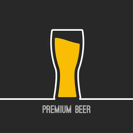抽象的な背景黄色の液体をビールグラス。Restarana、パブのメニュー、カフェのロゴ  イラスト・ベクター素材