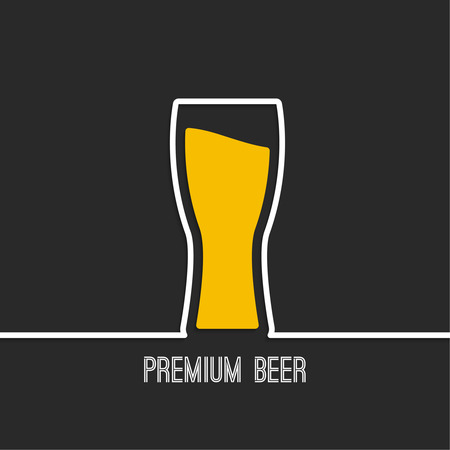 Abstract background with Beer glass with yellow liquid. Logo for restarana, pub menu, cafe Illustration