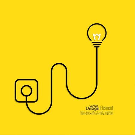 Lamp aangesloten op een stopcontact. plat ontwerp. concept van de ideeën inspiratie innovatie, uitvinding, effectief denken Stock Illustratie
