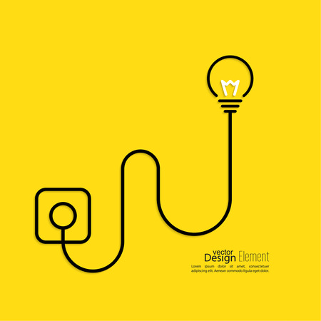 design thinking: Light bulb connected to a wall outlet. flat design. concept  of ideas inspiration innovation, invention, effective thinking Illustration