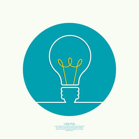 innovacion: Bombilla de la idea. concepto de gran innovaci�n de ideas inspiraci�n, invenci�n, pensamiento efectivo. texto Vectores
