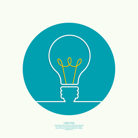 product innovation: Bulb light idea. concept of big ideas inspiration innovation, invention, effective thinking. text