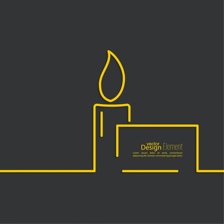 obituary: Funeral candle with a sign for text on a dark background. Outline. minimal.