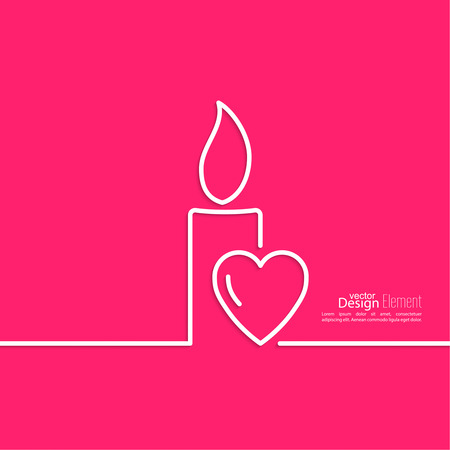 concept day: Burning candle with hearts on a red background. Symbol of love, care, mental warmth, charity and donations. Outline. minimal.