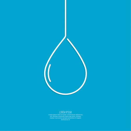 Falling drop of water on a blue background. Liquid water, oil, rain. minimal. Outline