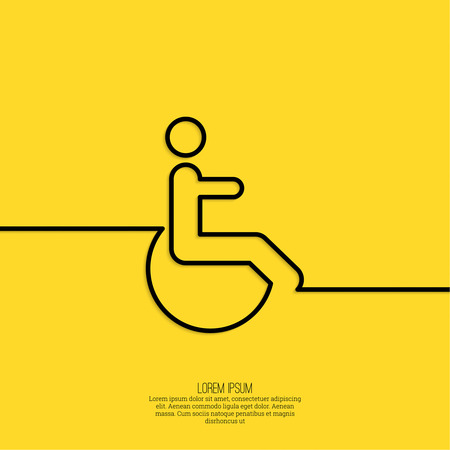 limited access: Symbol man on the wheelchair. Limited capacity, parking, toilet for the disabled. minimal. Outline Illustration