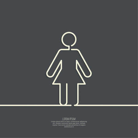 washroom: Human female sign icon. Woman Person symbol. female toilet. minimal. Outline