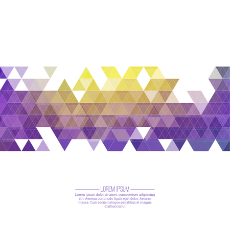 decorative design: Creative abstract triangle pattern. Polygonal mosaic  background. Hipster cover colorful, vibrant. For packaging, fabric, websites, printing, booklet, flyer, banner, mobile app, annual report template Illustration