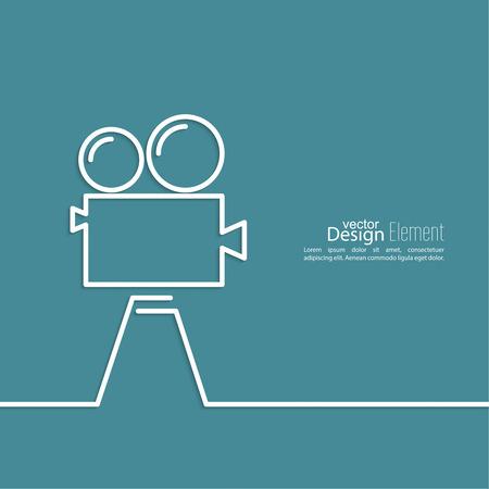 cinematograph: C�mara de pel�cula vieja con el carrete en un fondo azul. S�mbolo de la industria cinematogr�fica, el cine, la fotograf�a. m�nima. Esquema. Vectores