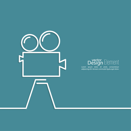 film industry: Old movie camera with reel on a blue background. Symbol of the film industry, cinema, photography. minimal. Outline.