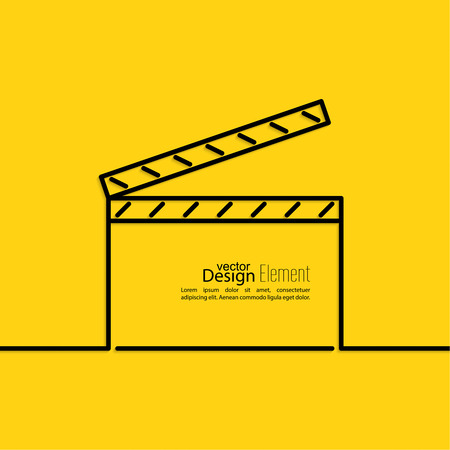 clapper: clapper board on a yellow background. symbol for film and video. minimal. Outline.