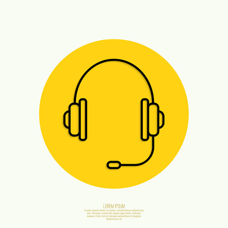 call center icon: Headphone for support or service on yellow background. icon. minimal. Outline. Mobile and Web Applications Illustration