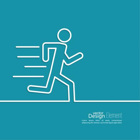 personas corriendo: La ejecuci�n de una figura humana. Haste. atenci�n de urgencias. m�nima. Esquema. Vectores