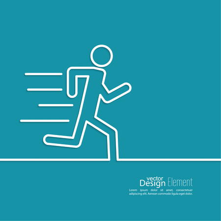 man arm: Running a human figure. Haste. urgent Care. minimal. Outline. Illustration
