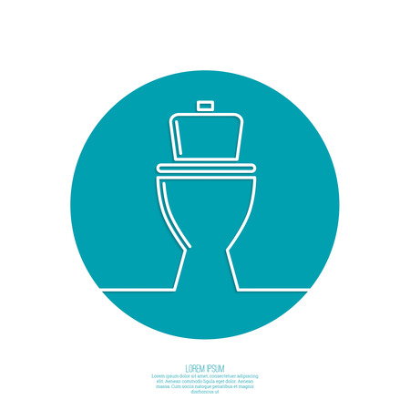 toilet icon, wc, blue background. Vector illustration.
