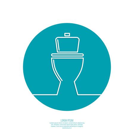 toilet seat: toilet icon, wc, blue background. Vector illustration.